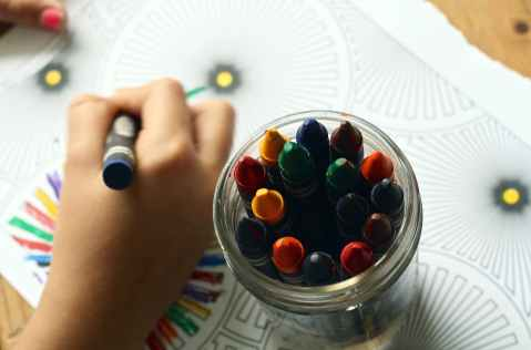 arts and crafts child close up color